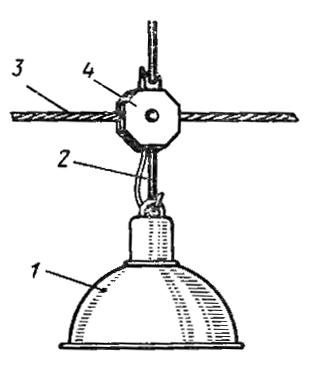 Крепление светильника к тросовому проводу