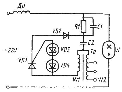 Схема включения лампы ДРИ