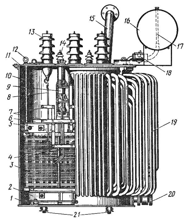 Трехфазный силовой трансформатор мощностью 1000 кВ с масляным охлаждением